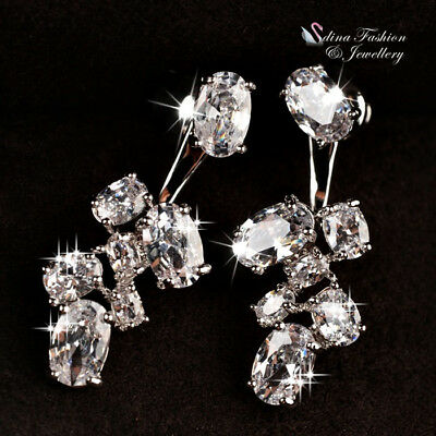 18K White Gold Plated AAA Grade Cubic Zirconia Oval Cut Cluster Stud Earrings