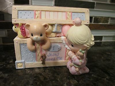 New Precious Moments by Enesco Jesus Loves Me Baby Girl Trinket Covered Box