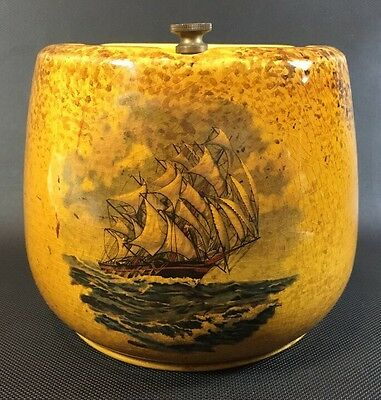 Crown Devon Fieldings England Porcelain/ Brass Humidor Sailing Tall Ship 5S