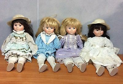 Lot of 4 38cm Beautiful Porcelain Dolls - Very Good Condition