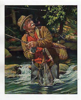 """1930's Art Calendar Trout Fly Fishing Lithograph Print size about 9.5"""" by 11.5"""""""