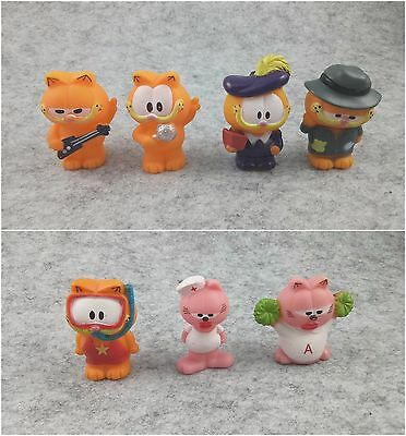 7pcs/lot Garfield Cat PVC Plastic Figures Toy Figurines 1.8""