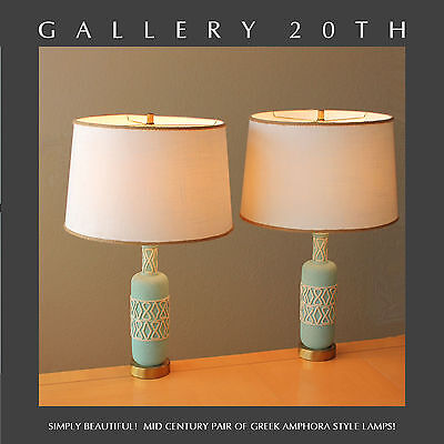 GORGEOUS PAIR MID CENTURY MODERN ATOMIC GREEK TABLE LAMPS! BLUE Vtg 1950's Eames