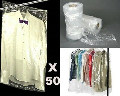 """50pcs 38"""" POLYTHENE GARMENT COVERS CLEAR PLASTIC DRY CLEANER CLOTHES BAGS UK"""