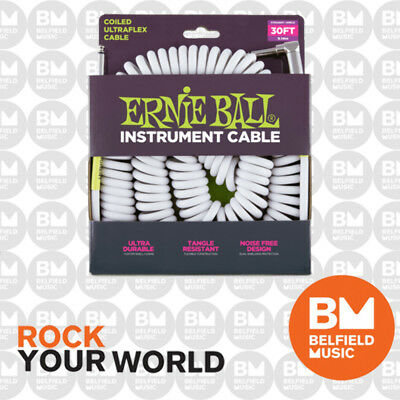 Ernie Ball 6045 Ultraflex 30ft 10m White Coiled Instrument Cable Straight/Angle