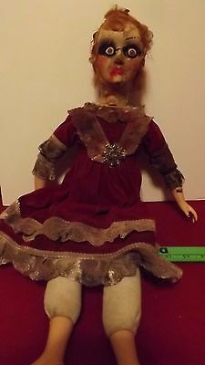 "large 24"" Haunted Creepy Antique Victorian Looking Vintage Doll/Halloween prop"