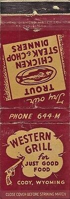 Vintage Matchbook Cover - Western Grill for Just Good Food, Cody, Wyoming
