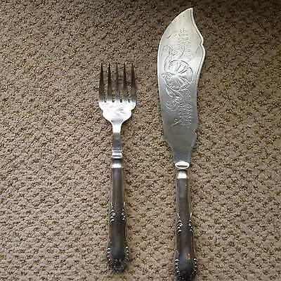 Vintage Silver Plate Plated Fish Serving Set Knife and Fork 2 Pieces