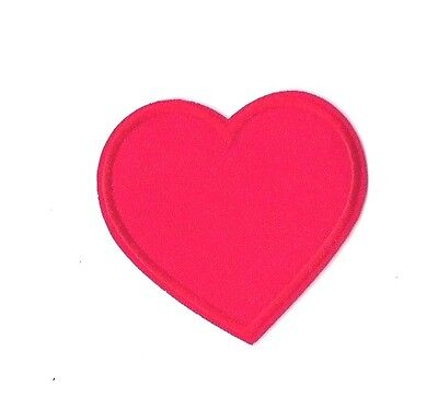 RED LOVE HEART IRON ON PATCH Embroidered Badge Sew Craft Peace Costume PT191