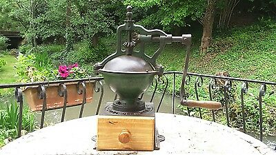 Rare Antique Cast Iron French Coffee Grinder mill Peugeot A2 1879-1909