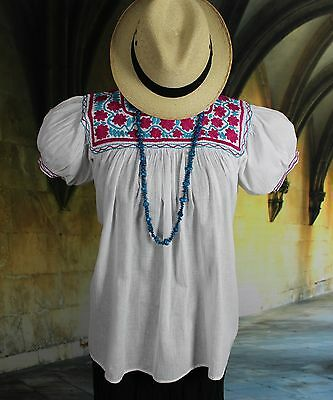 Maroon, Blue & White Hand Embroidered Blouse, Mayan Chiapas Mexico Hippie Boho