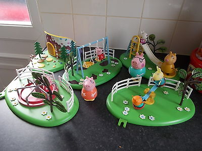 Peppa Pig Bundle Gingerbread House,round About,slide,swings,seesaw + Figures
