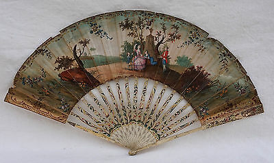 18th C Exceptionnal MASONIC French Bone Hand Fan Romantic Decor River Mauritius