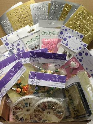 Card Making Craft Boxes Containing Embellishments, Peeloffs, Gems, Ink, Job Lot