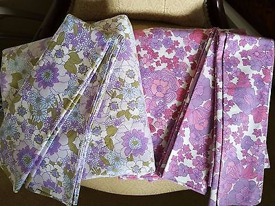 Vintage Psychedelic Flower double sheets, 2 sheets, 4 pillow cases