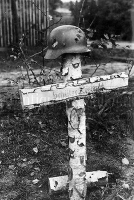 Shot helmet Tombs of German soldier grave Poland WWII photograph WW2 photo 4x6