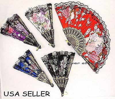 Chinese/ Japanese Folding Hand Fans - Flower Print Lace Hand Fans *US SELLER*