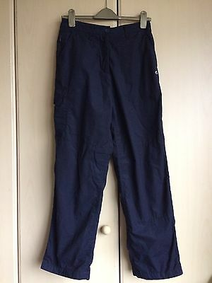 Ladies Craghoppers Navy Winter Lined Walking Trousers Size 12 - Used