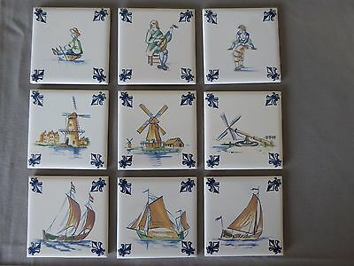 Lot of 9 KLM AIRLINES Business Class Delft Tiles Coaster with Felt Back