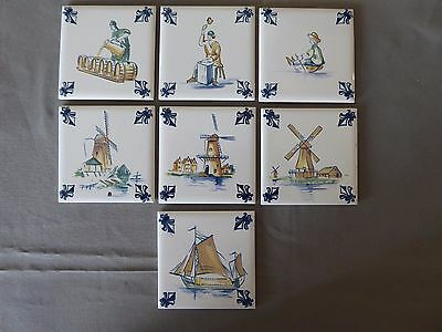 Lot of 7 KLM AIRLINES Business Class Delft Tiles Coaster with Felt Back