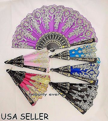 Chinese/ Japanese Folding Hand Fans - Glitter Print Lace Hand Fans *US SELLER*