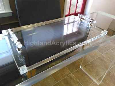Acrylic Clear Lucite Vanity Tray Table display with Carry Handles  12 x 10