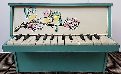 Vintage Very Rare Children's Wooden Beautiful Toy Mini Piano GDR 1960s Working