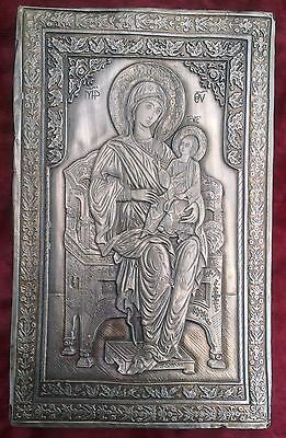 Old unique  silver orthodox icon of the Virgin Mary and the young Jesus