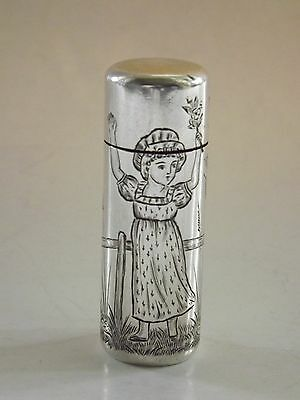 "Excellent Antique Sampson Mordan ""Kate Greenaway""Silver Perfume Scent Bottle1882"