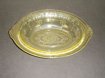 """Vintage ANCHOR HOCKING CAMEO BALLERINA Yellow Depression Glass 10"""" Oval Bowl"""
