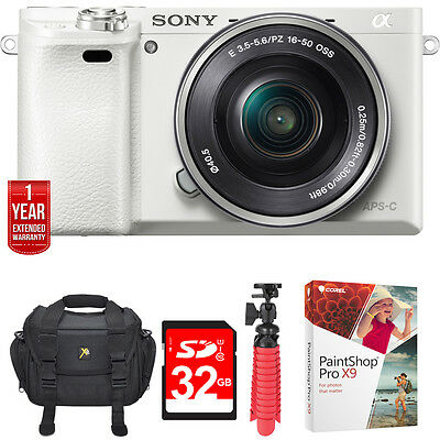 Sony Alpha a6000 24.3MP White Interchangeable Lens Camera 16-50mm + 32GB Bundle