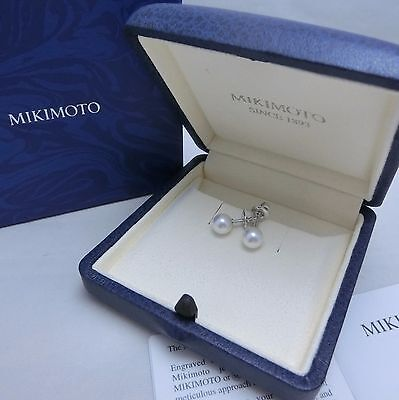 NEW Mikimoto Akoya Pearl 18K White Gold Stud Earrings 6.5 mm 100%Authentic!