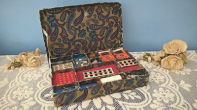 Vintage Paisley Sewing Box With Contents