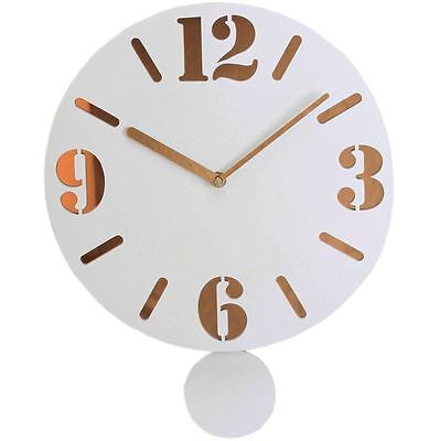 Brand New Wm Widdop Wooden Millky Pendulum Clock Gold Numerals Wall Clock W7319