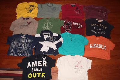 Lot Of 14 Mens American Eagle T Shirts Graphic Tees Hollister Aeropostale Xs