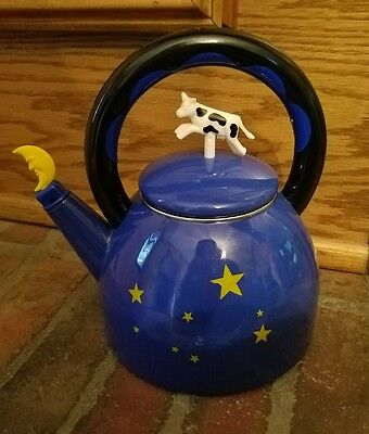 Kamenstein Nifteas Cow Jumped over the Moon 2 1/2 Quart Whistling Tea Kettle VTG