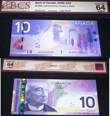 02 Digit Radar 9222229 Uncirculated,canada ,bank Of Canada 2005 $10