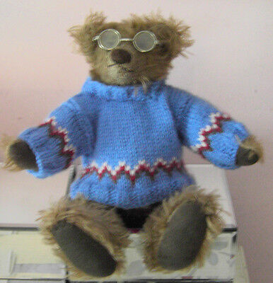 """Teddy Bears Clothes. New hand knitted blue fairisle jumper to suit a  10"""" bear"""