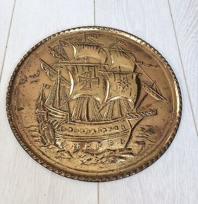 Vintage Brass Plaque/ Wall Hanging Plate Ship