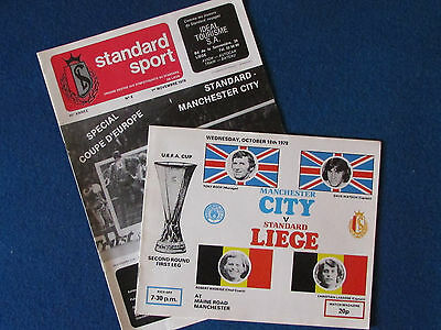 Manchester City v Standard Liege- 1978/79-Home & Away UEFA Cup 2nd Rd Programmes
