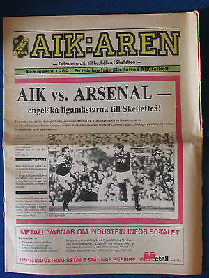 Skelleftea AIK v Arsenal - 22/7/89 - Friendly Programme - Newspaper Style