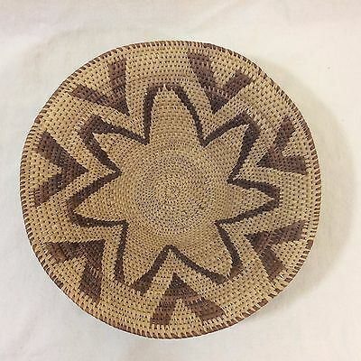 Vintage 1980s Traditional Zulu Finely Woven Bowl-Shaped Fruit Basket Tan & Brown