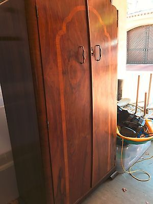 Exquisitely Detailed Art Deco Mahogany Flame Armoire Wardrobe **Good Condition**