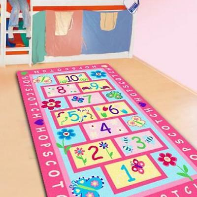 Hopscotch Kids Rug Area Mat Pink Girls Room Nursery Mat Butterfly Flower New