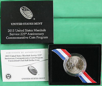 2015 US Marshals Service 225th Anniversary BU Clad Half Dollar Coin with Box COA