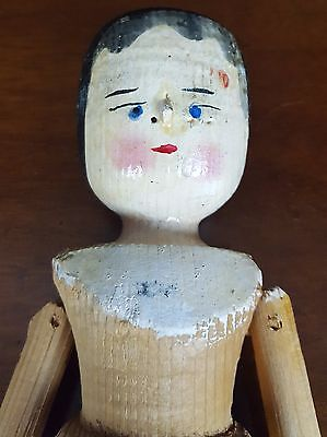 Antique Grodnertal Lady Wooden Doll 11.5 inches Penny Doll Hand Painted