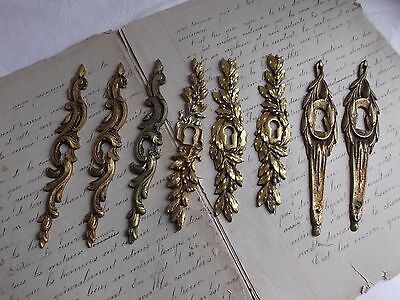 French 8 antique cabinet furniture key hole plates  bronze different patterned
