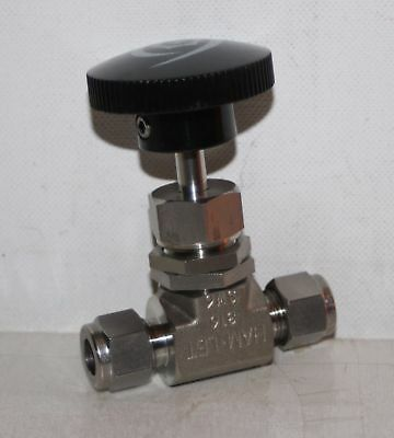 "3/8"" Tube-Fitting 5000 Psi SS Needle Valve Ham-Let H-300-SS-L-R-3/8-RS"