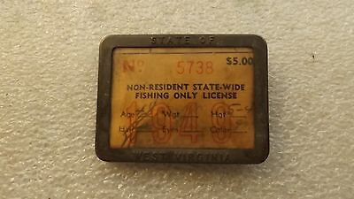 Vintage 1949 West Virginia Non-Resident Fishing License With Tin Case (A)