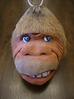 Carved HangingTiki Coconut Monkey.Orangutan,Gorilla Head
